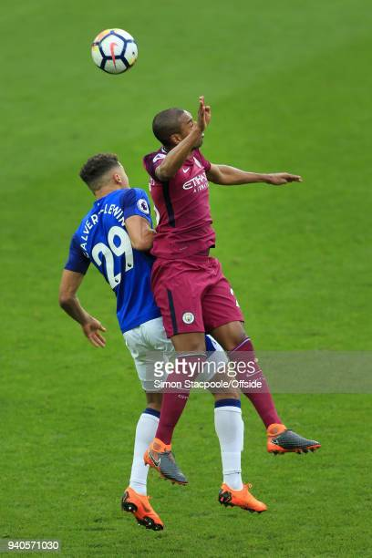 Fernandinho of Man City battles with Dominic CalvertLewin of Everton during the Premier League match between Everton and Manchester City at Goodison...