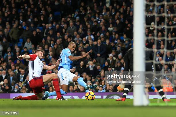 Fernandinho of Man City scores their 1st goal during the Premier League match between Manchester City and West Bromwich Albion at the Etihad Stadium...