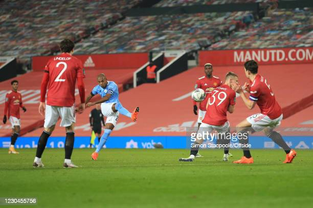 Fernandinho of Man City shoots during the Carabao Cup Semi Final match between Manchester United and Manchester City at Old Trafford on January 6,...