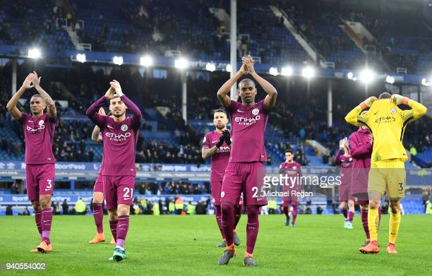 Fernandinho of Manchester City and his teammates applaud fans after the Premier League match between Everton and Manchester City at Goodison Park on...