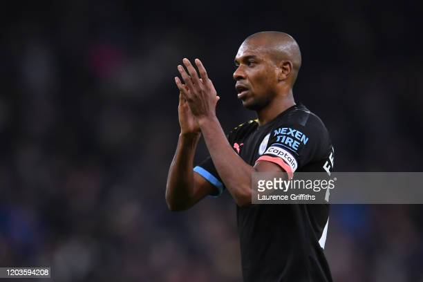 Fernandinho of Manchester City applauds the away fans after the Premier League match between Tottenham Hotspur and Manchester City at Tottenham...