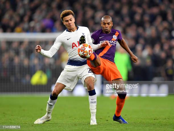 Fernandinho of Manchester City battles for possession with Dele Alli of Tottenham Hotspur during the UEFA Champions League Quarter Final first leg...