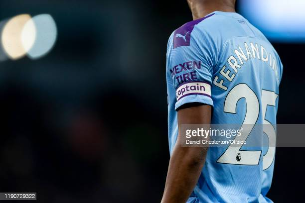 Fernandinho of Manchester City captain's armband during the Premier League match between Manchester City and Sheffield United at Etihad Stadium on...