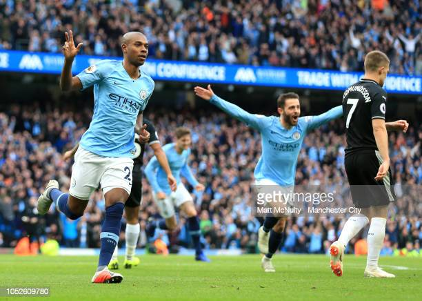 Fernandinho of Manchester City celebrates after scoring his team's third goal during the Premier League match between Manchester City and Burnley FC...