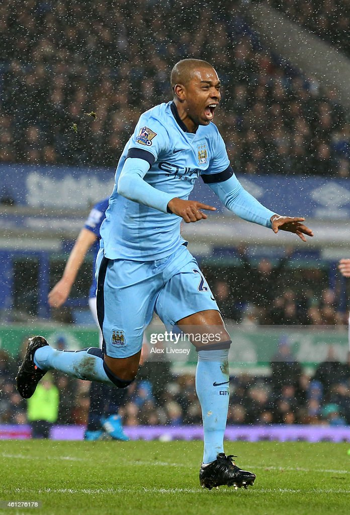 Fernandinho of Manchester City celebrates after scoring the opening goal during the Barclays Premier League match between Everton and Manchester City at Goodison Park on January 10, 2015 in Liverpool, England.