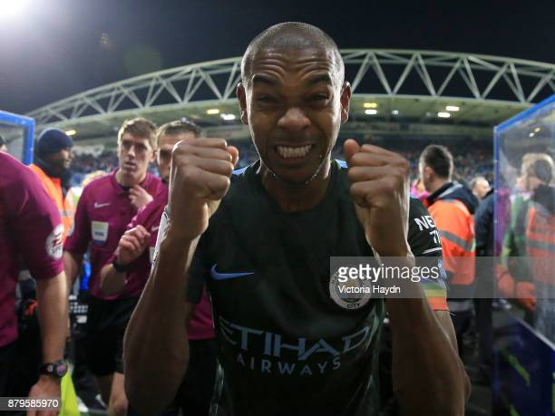 Fernandinho of Manchester City celebrates after the Premier League match between Huddersfield Town and Manchester City at John Smith's Stadium on...