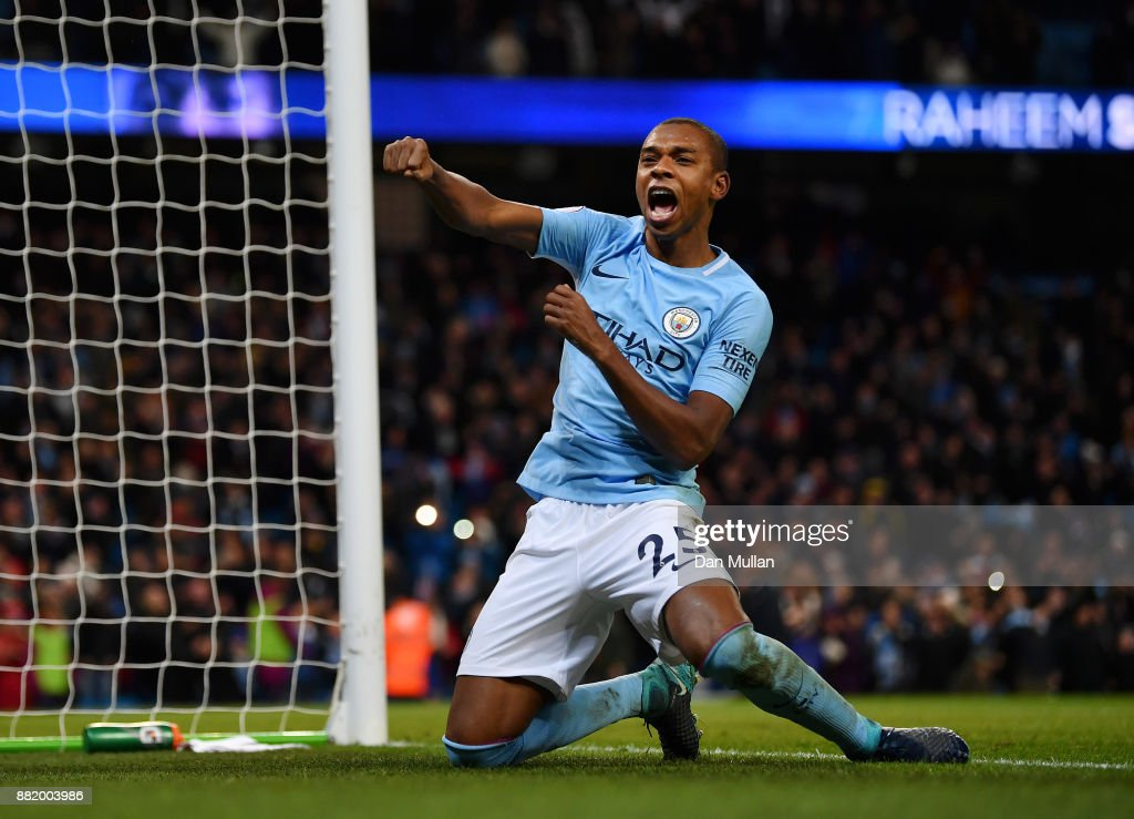 Fernandinho of Manchester City celebrates his sides second goal during the Premier League match between Manchester City and Southampton at Etihad Stadium on November 29, 2017 in Manchester, England.