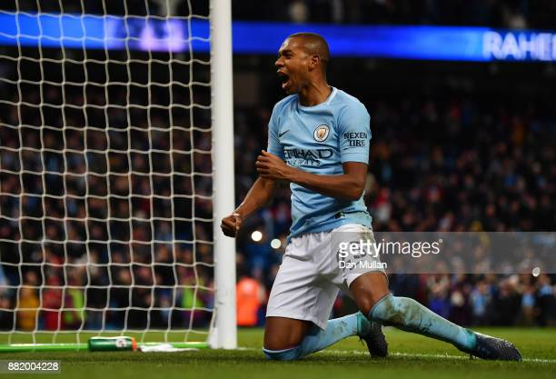 Fernandinho of Manchester City celebrates his sides second goal during the Premier League match between Manchester City and Southampton at Etihad...