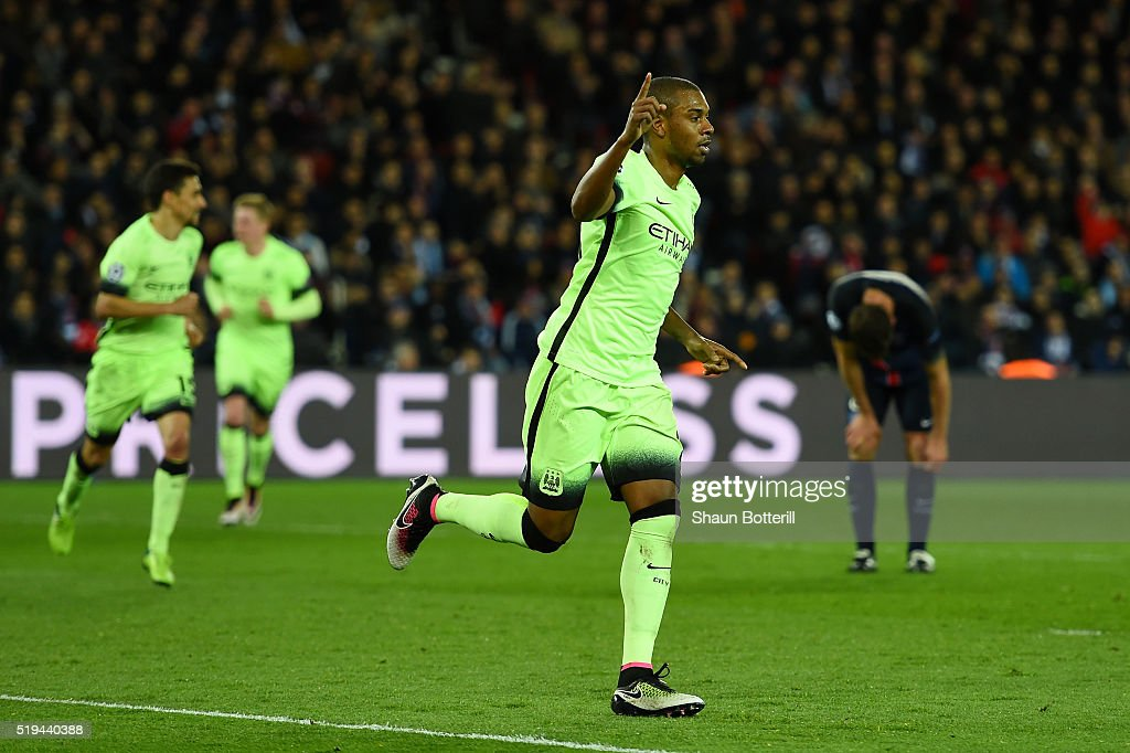 Fernandinho of Manchester City celebrates scoring his team's second goal during the UEFA Champions League Quarter Final First Leg match between Paris Saint-Germain and Manchester City at Parc des Princes on April 6, 2016 in Paris, France.