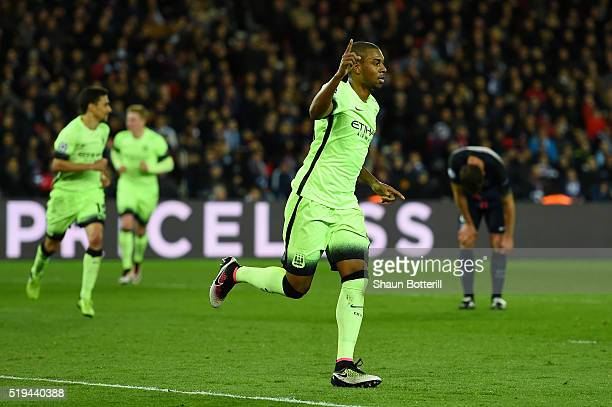 Fernandinho of Manchester City celebrates scoring his team's second goal during the UEFA Champions League Quarter Final First Leg match between Paris...