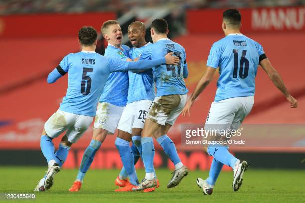 Fernandinho of Manchester City celebrates scoring their 2nd goal with Oleksandr Zinchenko during the Carabao Cup Semi Final match between Manchester...