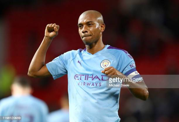 Fernandinho of Manchester City celebrates victory after the Carabao Cup Semi Final match between Manchester United and Manchester City at Old...