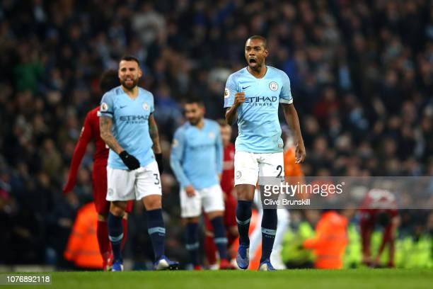 Fernandinho of Manchester City celebrates victory after the Premier League match between Manchester City and Liverpool FC at the Etihad Stadium on...