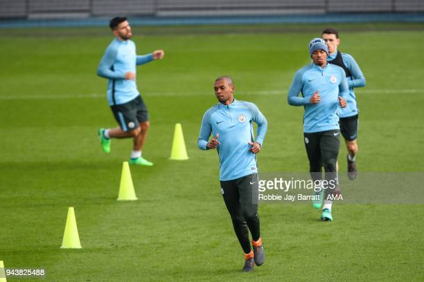 Fernandinho of Manchester City during a Press Conference and Training Session at Manchester City Football Academy on April 9 2018 in Manchester...