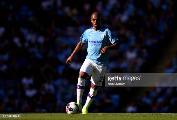 Fernandinho of Manchester City during the Premier League match between Manchester City and Watford FC at Etihad Stadium on September 21, 2019 in...