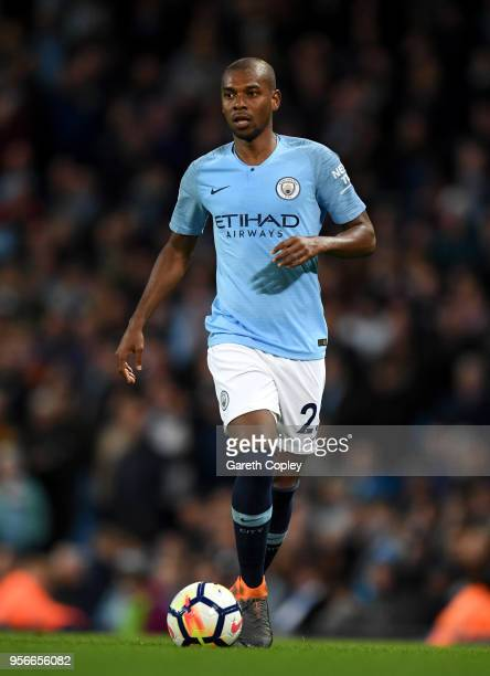 Fernandinho of Manchester City during the Premier League match between Manchester City and Brighton and Hove Albion at Etihad Stadium on May 9, 2018...