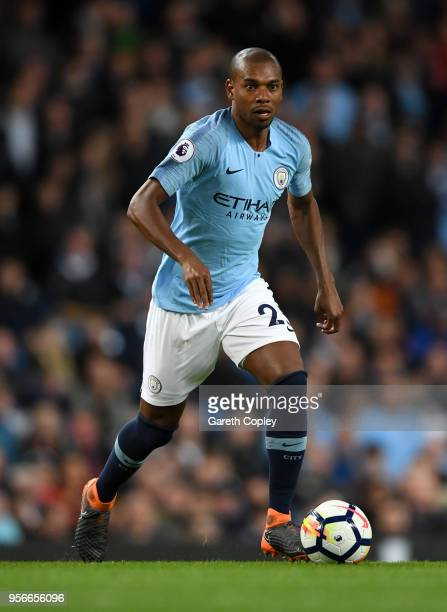 Fernandinho of Manchester City during the Premier League match between Manchester City and Brighton and Hove Albion at Etihad Stadium on May 9 2018...
