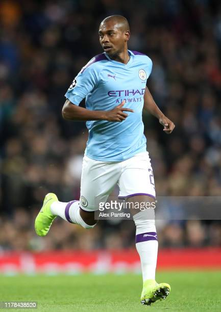 Fernandinho of Manchester City during the UEFA Champions League group C match between Manchester City and Dinamo Zagreb at Etihad Stadium on October...