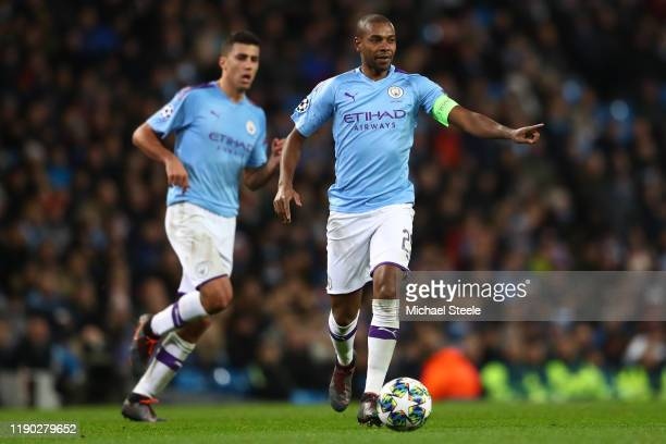 Fernandinho of Manchester City during the UEFA Champions League group C match between Manchester City and Shakhtar Donetsk at Etihad Stadium on...