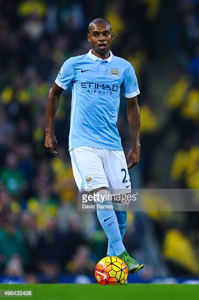 Fernandinho of Manchester City FC runs with the ball during the Barclays Premier League match between Manchester City and Norwich City at Etihad...