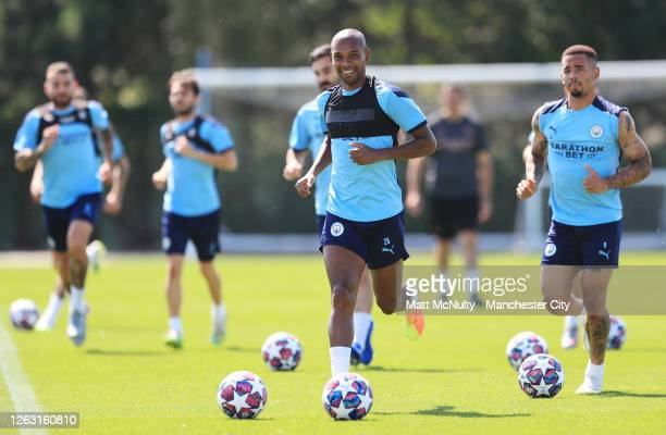 Fernandinho of Manchester City in action during a training session at Manchester City Football Academy on July 31 2020 in Manchester England