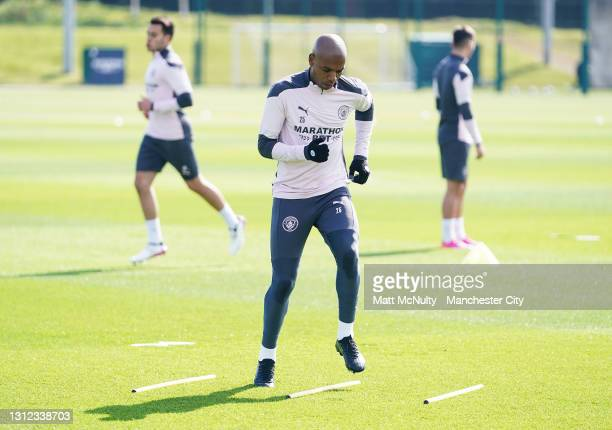 Fernandinho of Manchester City in action during a training session at Manchester City Football Academy on April 13, 2021 in Manchester, England.