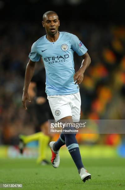 Fernandinho of Manchester City in action during the Group F match of the UEFA Champions League between Manchester City and Olympique Lyonnais at...