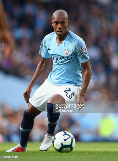 Fernandinho of Manchester City in action during the Premier League match between Manchester City and Brighton Hove Albion at Etihad Stadium on...