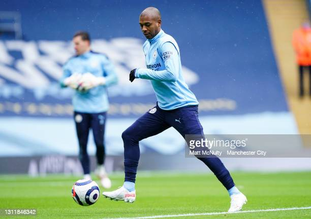 Fernandinho of Manchester City in action during the Premier League match between Manchester City and Leeds United at Etihad Stadium on April 10, 2021...