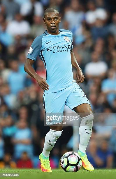 Fernandinho of Manchester City in action during the Premier League match between Manchester City and West Ham United at Etihad Stadium on August 28...