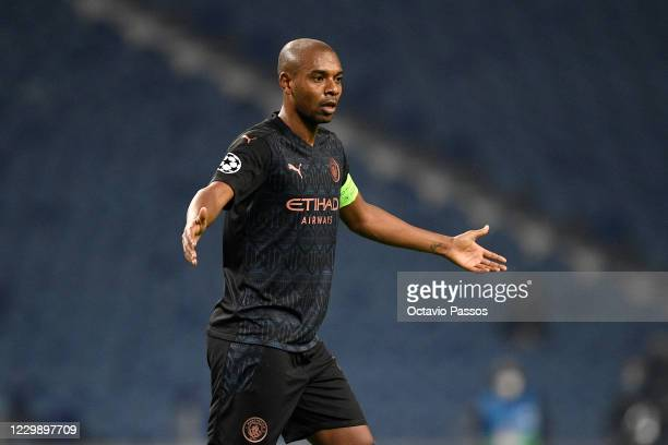 Fernandinho of Manchester City in action during the UEFA Champions League Group C stage match between FC Porto and Manchester City at Estadio do...