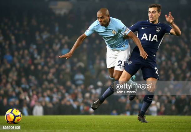 Fernandinho of Manchester City is challenged by Harry Winks of Tottenham Hotspur during the Premier League match between Manchester City and...