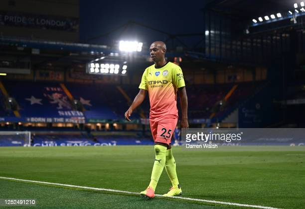 Fernandinho of Manchester City leaves the pitch after being sent off during the Premier League match between Chelsea FC and Manchester City at...