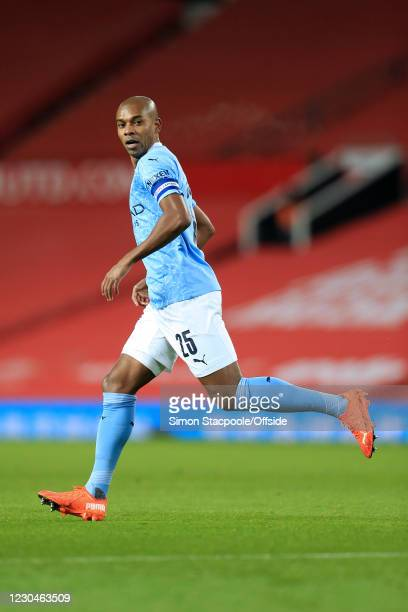 Fernandinho of Manchester City looks back during the Carabao Cup Semi Final match between Manchester United and Manchester City at Old Trafford on...