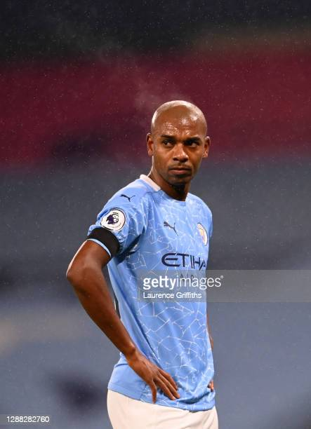 Fernandinho of Manchester City looks on during the Premier League match between Manchester City and Burnley at Etihad Stadium on November 28 2020 in...