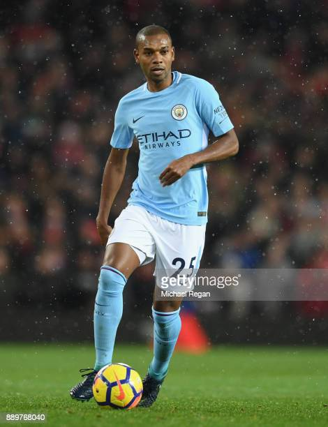 Fernandinho of Manchester City looks on during the Premier League match between Manchester United and Manchester City at Old Trafford on December 10...