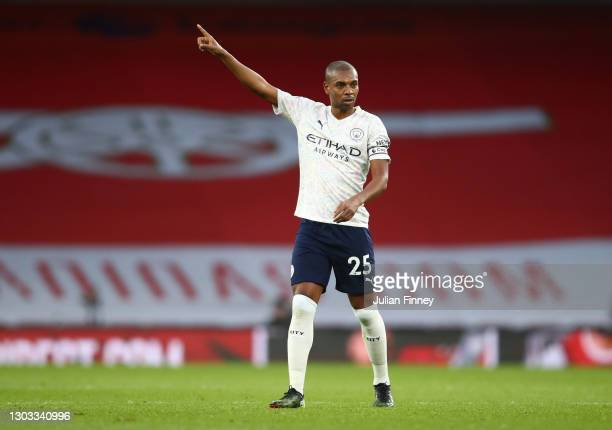 Fernandinho of Manchester City reacts during the Premier League match between Arsenal and Manchester City at Emirates Stadium on February 21, 2021 in...