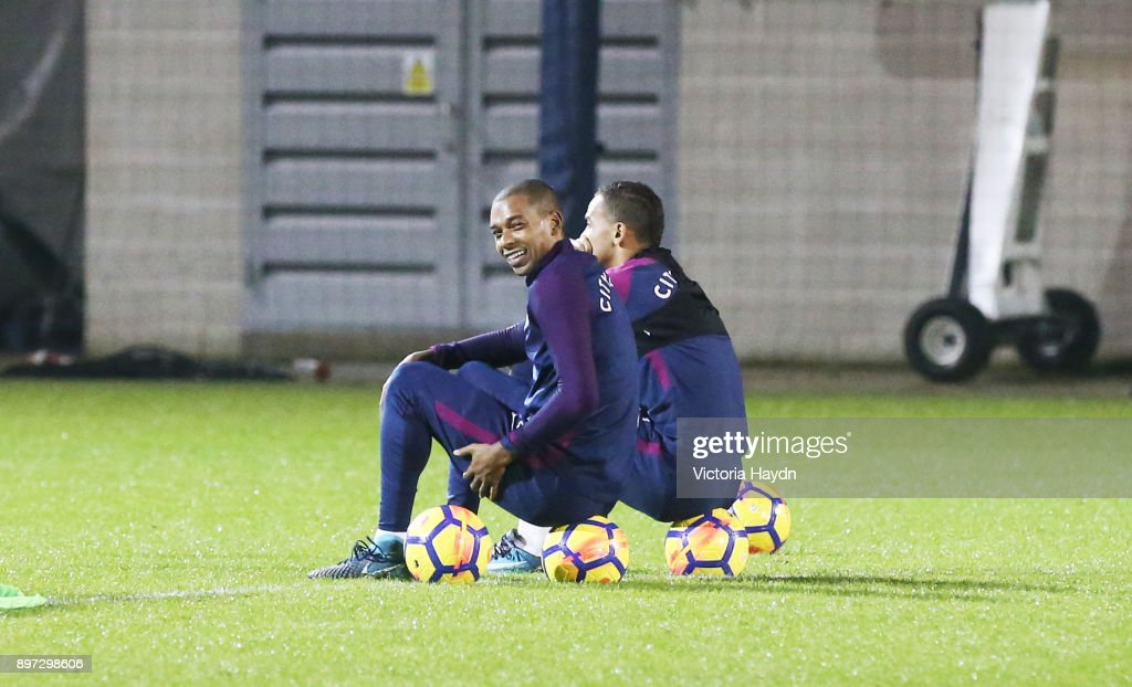 Fernandinho of Manchester City reacts during training at Manchester City Football Academy on December 22, 2017 in Manchester, England.