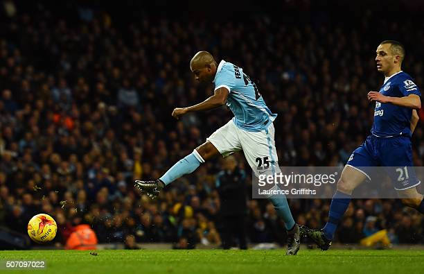 Fernandinho of Manchester City scores a goal to level the scores at 11 during the Capital One Cup Semi Final second leg match between Manchester City...