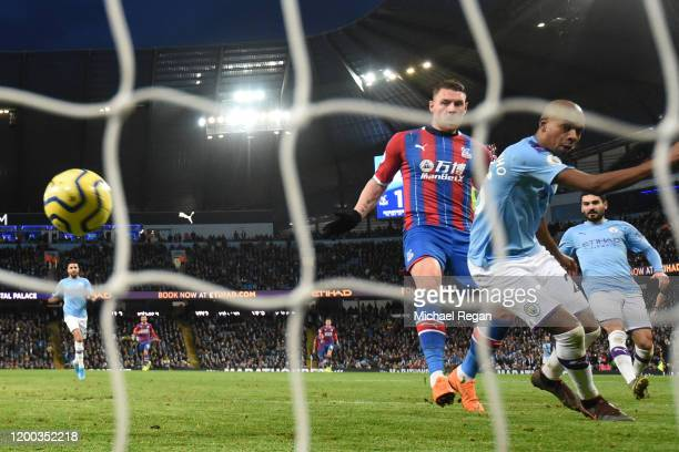 Fernandinho of Manchester City scores an own-goal which results in the second goal for Crystal Palace during the Premier League match between...