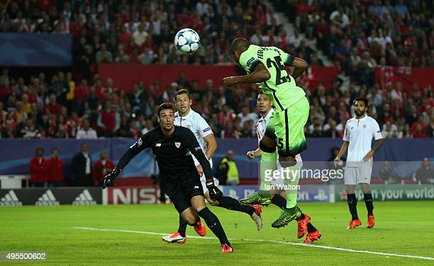 Fernandinho of Manchester City scores his side's second goal during the UEFA Champions League Group D match between Sevilla FC and Manchester City FC...