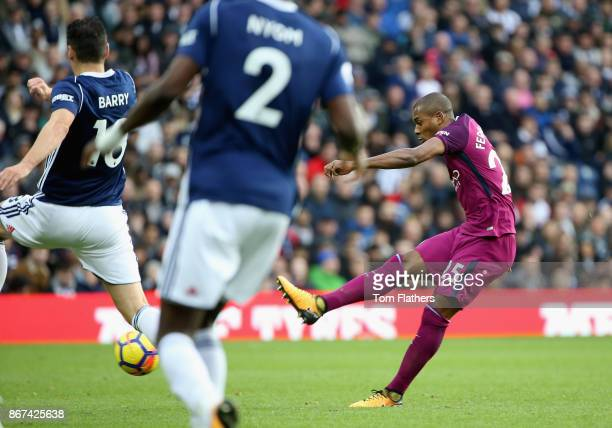 Fernandinho of Manchester City scores his sides second goal during the Premier League match between West Bromwich Albion and Manchester City at The...