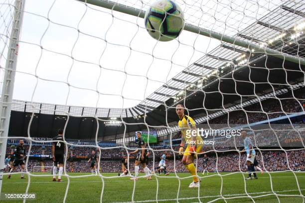 Fernandinho of Manchester City scores his team's third goal during the Premier League match between Manchester City and Burnley FC at Etihad Stadium...