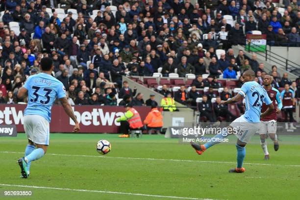 Fernandinho of Manchester City scores their 4th goal during the Premier League match between West Ham United and Manchester City at London Stadium on...