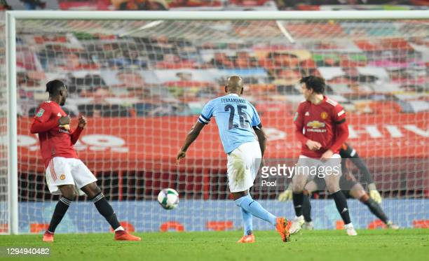 Fernandinho of Manchester City scores their team's second goal during the Carabao Cup Semi Final match between Manchester United and Manchester City...