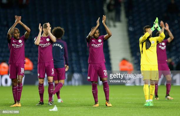 Fernandinho of Manchester City shows appreciation to the fans after the Carabao Cup Third Round match between West Bromwich Albion and Manchester...