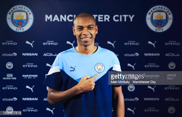 Fernandinho of Manchester City signs a contract extension at Manchester City Football Academy on January 28, 2020 in Manchester, England.