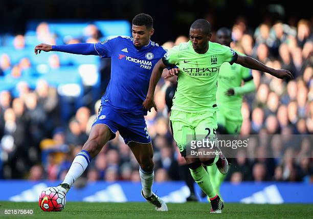 Fernandinho of Manchester City tackles Ruben LoftusCheek of Chelsea during the Barclays Premier League match between Chelsea and Manchester City at...