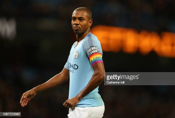 Fernandinho of Manchester City wearing a stonewall rainbow captains armband during the Premier League match between Manchester City and AFC...