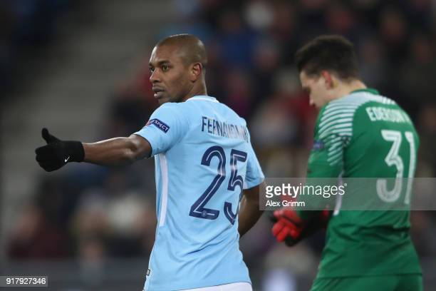 Fernandinho of Manchester shows thumbs up during the UEFA Champions League Round of 16 First Leg match between FC Basel and Manchester City at St...
